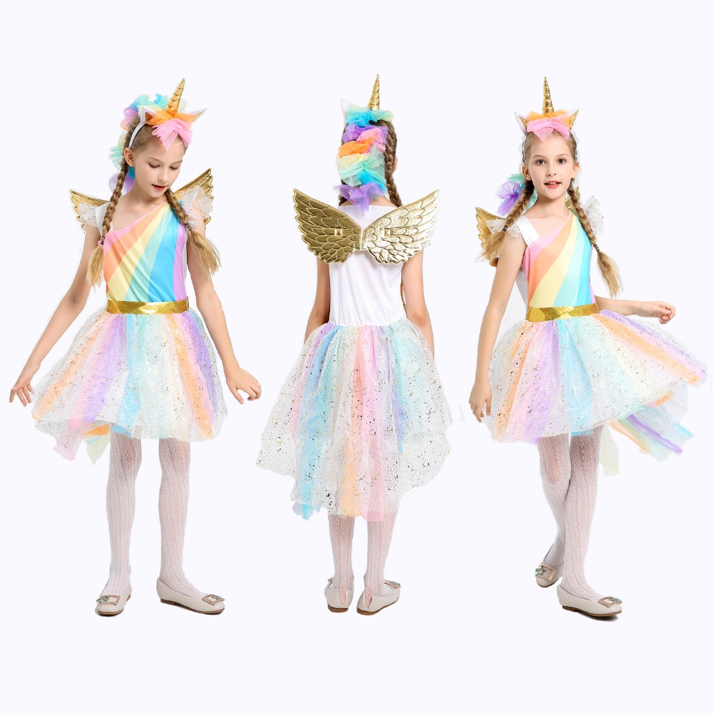 5-12Y Girl Unicorn Fancy Dress for kids Rainbow Sequined Tutu Wedding Party Dress with Hair Hoop Wings Set for Cosplay Costumes