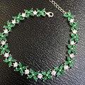 Luxuoso emerald pulseira 64 pcs naturais 2*4mm garantia genuína esmeralda esmeralda pure 925 sterling silver bijuterias
