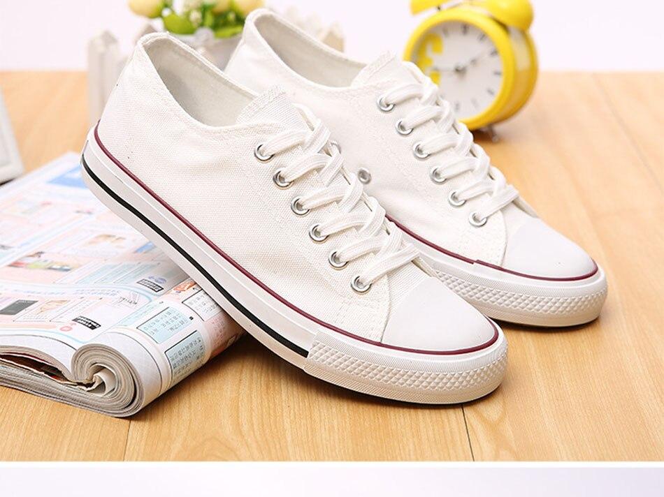 Prix pour Classique Planche À Roulettes Chaussures Unisexe Sneakers Skate Chaussures Toile Matériel Low Cut Chaussures Durable Confortable Souple Sneaker Blanc Rouge
