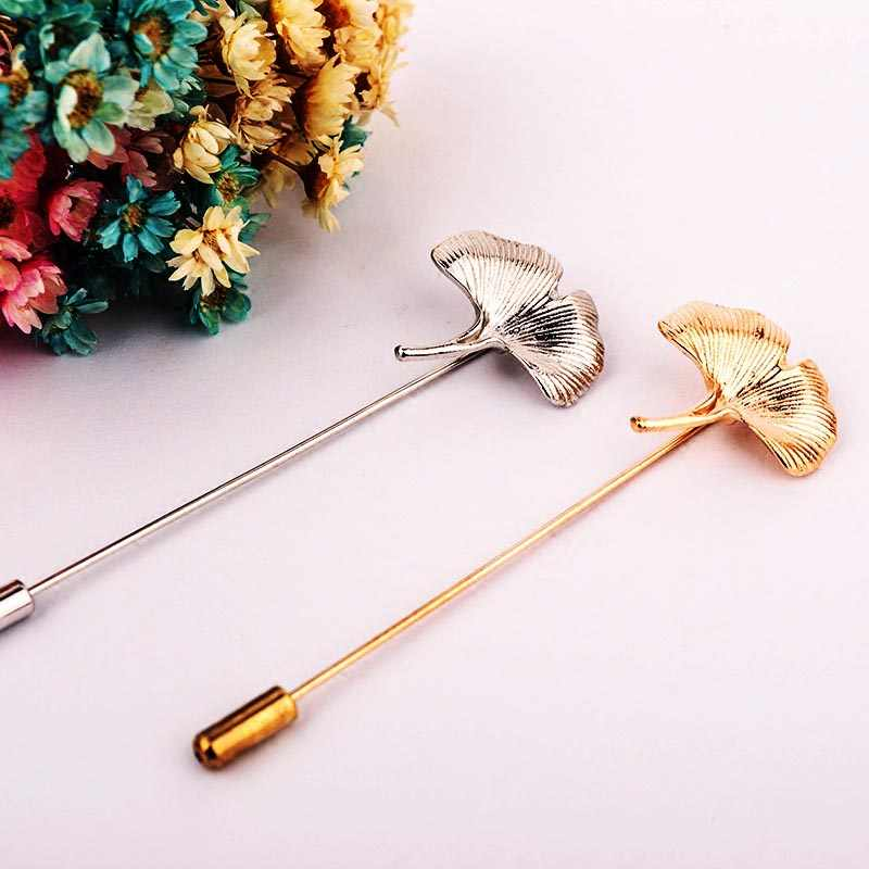 New LNRRABC Fashion Women Brooch Pins Girl Charming Ginkgo Biloba Leaf Brooches Pin Collar Bouquet Hijab Pins Jewelry