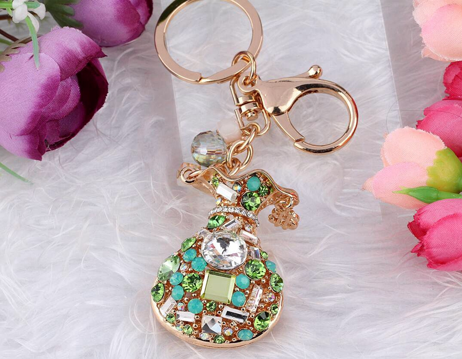 Hot Selling Gold Rhinestone Crystal wallet Keychain Keys Cell Phone Car Bag Key Chain Handbag Gifts Couple Key Ring Jewelry B241