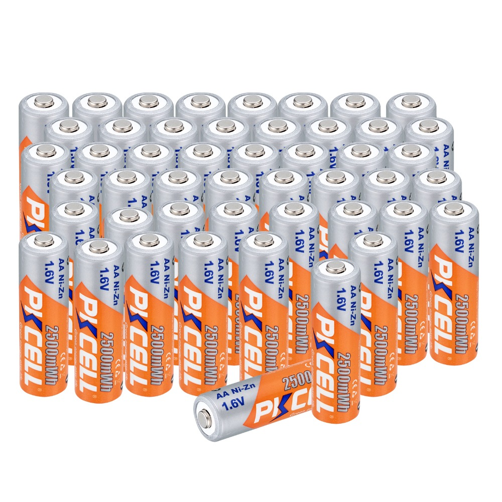 New arrival 40 pcs AA Batteries Ni-Zn 2500MA 1.6V AA Rechargeable Battery 2A Electronic Toys 2a Bateria