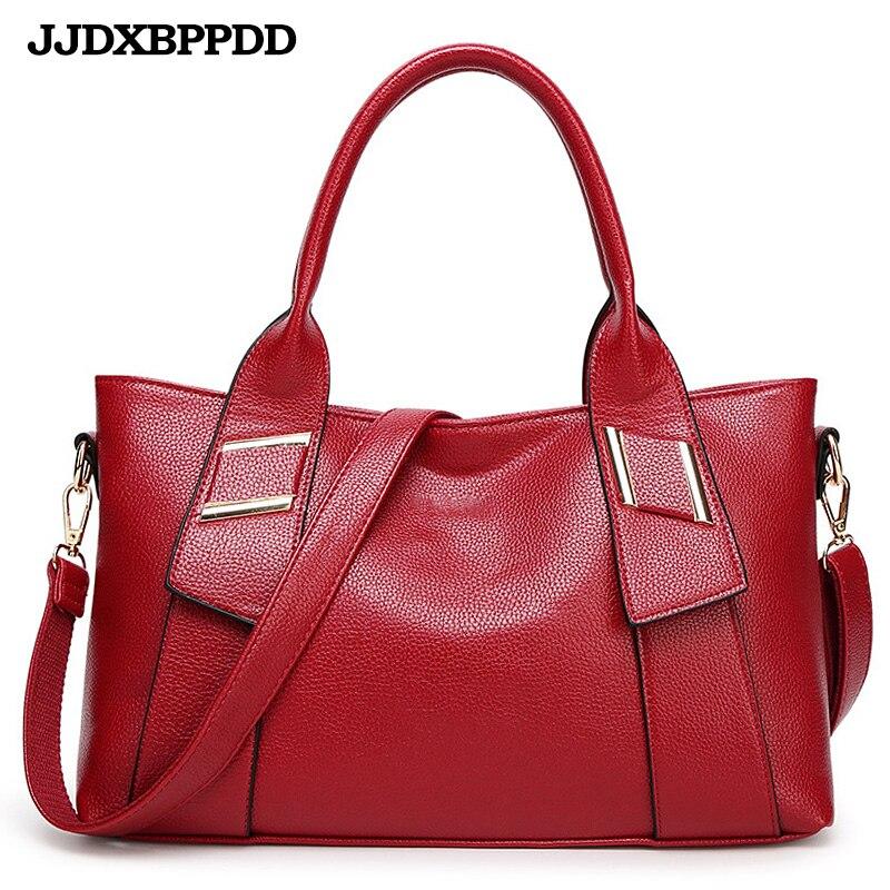 Borse Signore 2018 blue red Di Nuove Bag Donne Le Capacità Sacchetto Cuoio Spalla Black Casuale Tote brown Delle Per Grande xf0xIRq4T