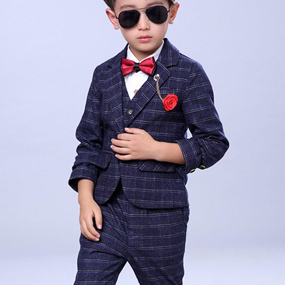Zēnu kāzu tērpi Bērnu zila jaka + veste + bikses 3 gab. / - Bērnu apģērbi - Foto 4