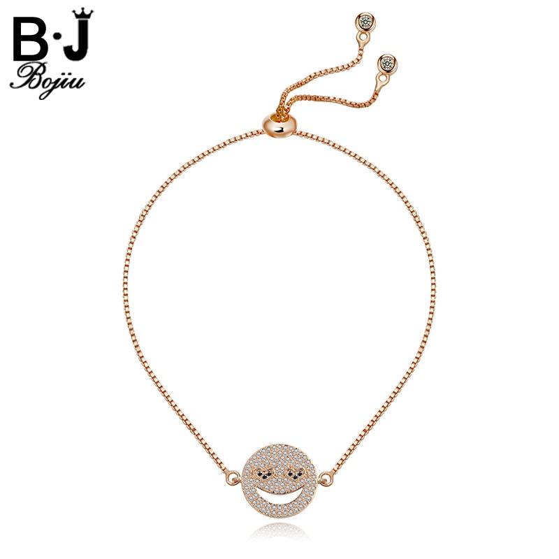 BOJIU Bracelet Thin Box Chain Bracelets For Women New Expression Crystal Adjustable Bracelets Womens Bracelets BC77