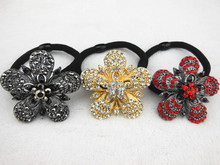 12 Pcs NEW Women Crystal Rhinestone Hair Band Rope Elastic Ponytail Holder Alloy Flower Hair Ring Fashion Hair Accessory