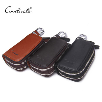 CONTACT'S Classic New Double Zip Men's Genuine Cow Leather Car Key Holder Multifunction Housekeeper  High Class Motor Key Case