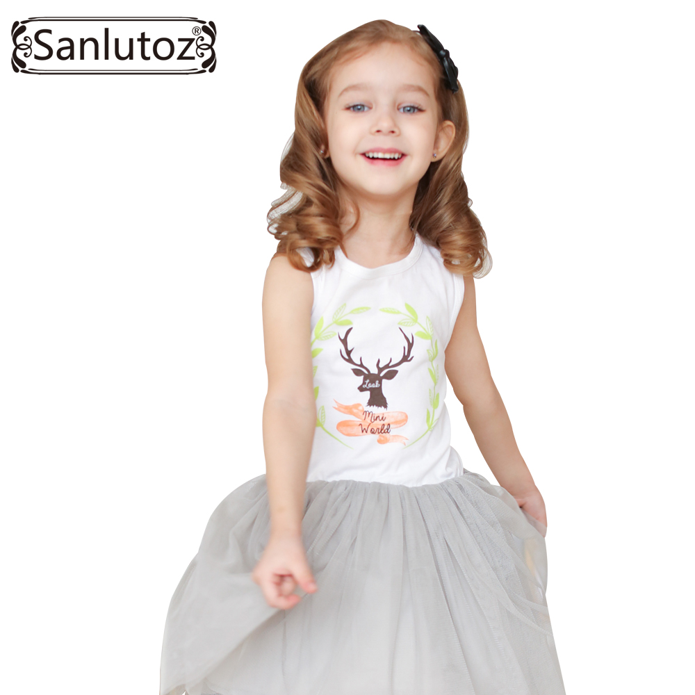 Sanlutoz Girls Clothes Summer Girl Dress Children Clothing 2017 Brand Fashion Cute Party Tutu Dress for Girls Toddler fashion brand autumn children girl clothes toddler girl clothing sets cute cat long sleeve tshirt and overalls kid girl clothes