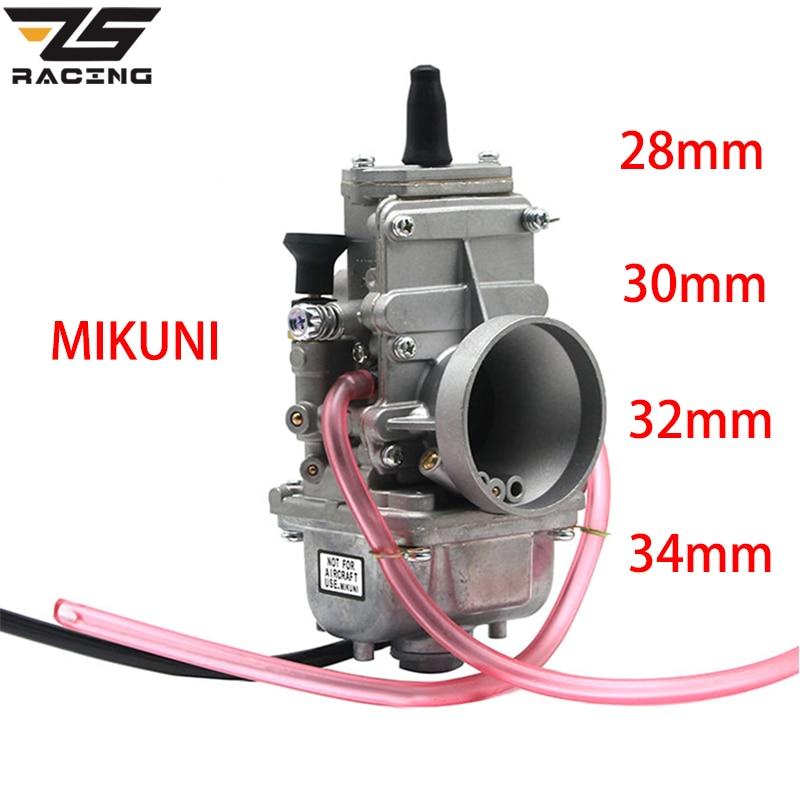 ZS moto de course MIKUNI 28mm 30mm 32mm 34mm TM28 TM30 TM32 TM34 glissière plate Carb lisse pour moteur 2 T Carburador de course