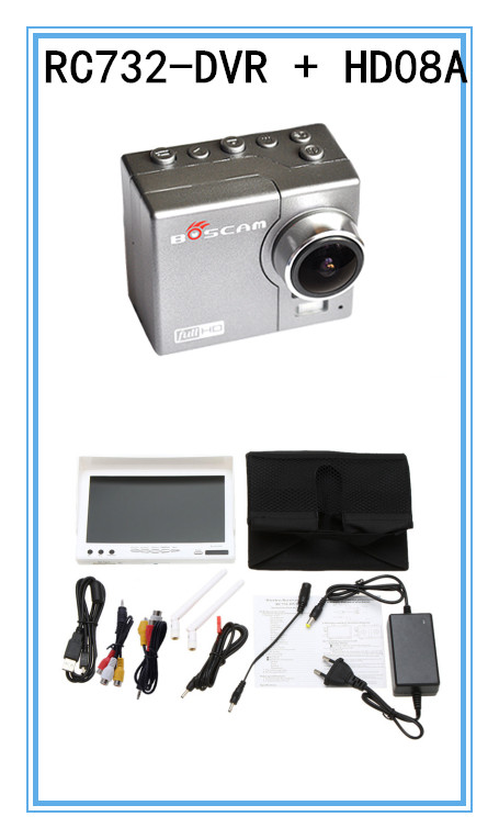 RC732-DVR 7 Inch 800*480 HD LCD FPV Monitor Built-in Battery + FPV Boscam HD08A 1080p Full HD Waterproof Sports Camera