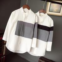 2019 Summer men's clothing small fresh stand collar shirt male three quarter sleeve trend slim shirt patchwork 7 short sleeve
