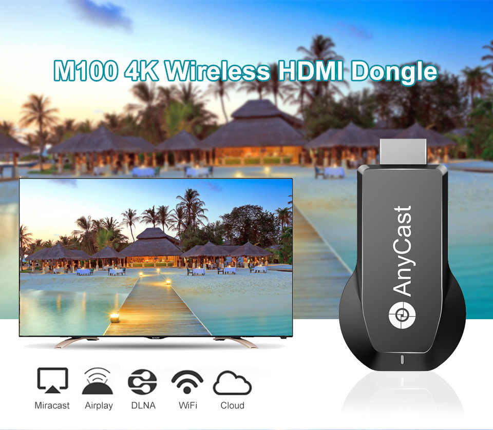 New Cool AnyCast M100 Dual Core AnyCast 4K H 265 wifi Steamer Miracast HDMI  TV Stick Wireless TV Dongle Miracast Airplay DLNA