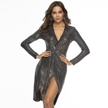 Spring Sequined women long sleeve Deep V-Neck Sashes bodycon bandage Dress Sexy Slim Irregular hem mini sequin dress vestidos