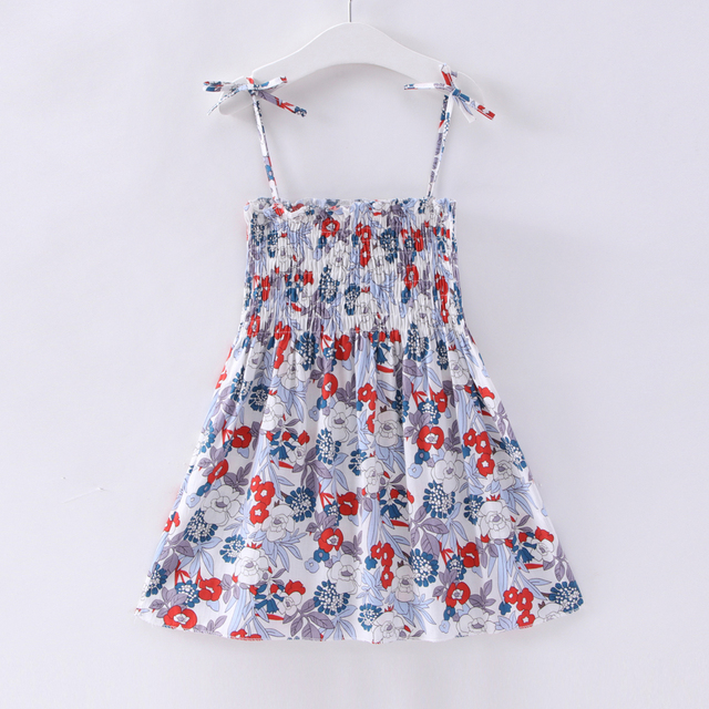 1-7 Years Kids Girl Sling Dresses Summer Chidlren Clothes Toddler Girls Dress Baby Cotton Sleeveless Print Flower Princess Dress 2