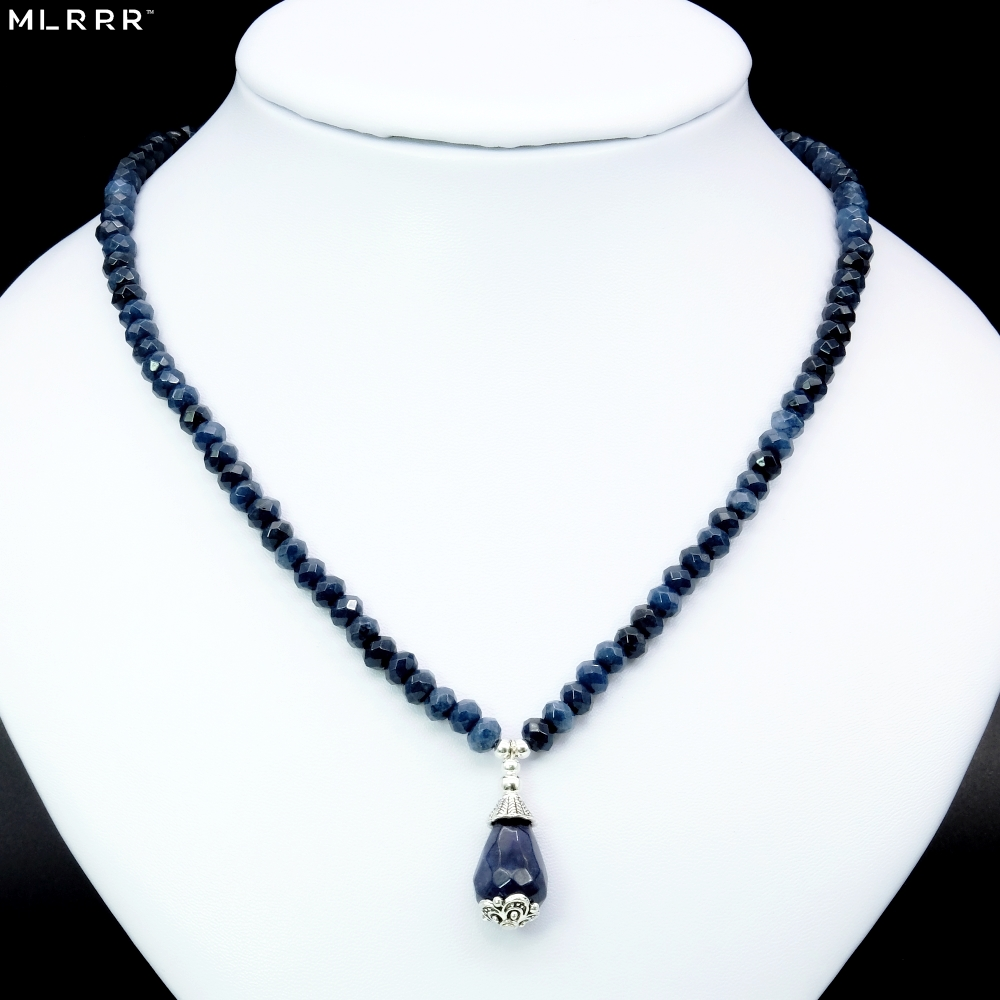 Classic Natural Stone Jewelry Noble Gray Blue Sapphires Beaded Chain Necklace with Deep Blue Sapphires Pendant