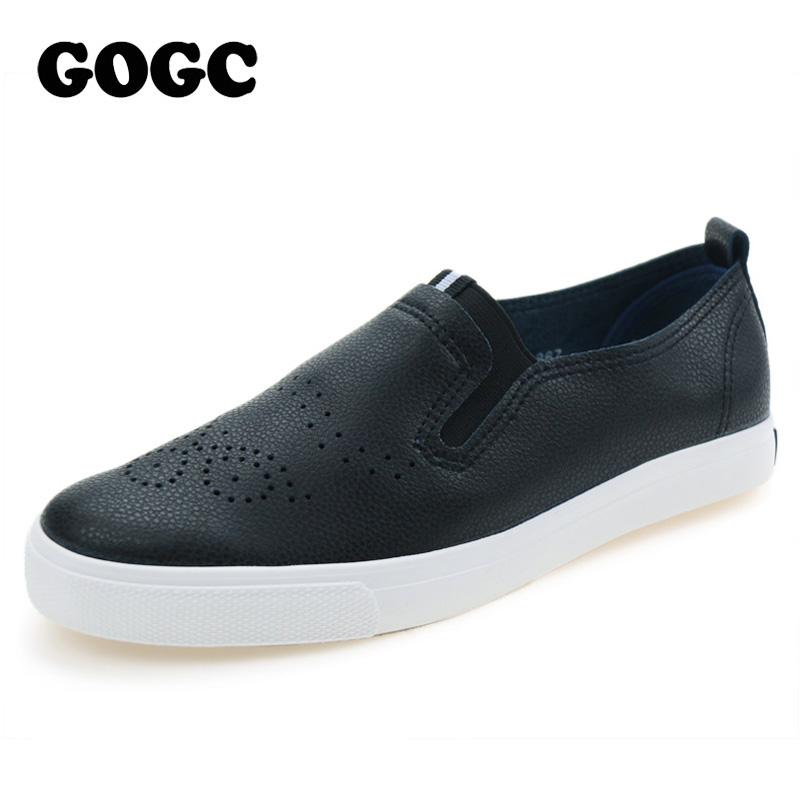 GOGC Fashion Leather Casual Shoes for Women Breathable Soft Women's Casual Shoes Black Footwear Flats Shoes Women Female 2017 2018 leather shoes women spring summer simple nude color female flats soft sole breathable footwear free shipping