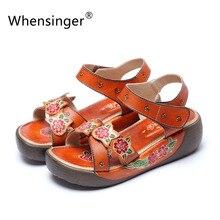 Whensinger-2016 sommer frauen leder sandalen 5 cm ferse klett mode handgenäht schuhe 151-16a