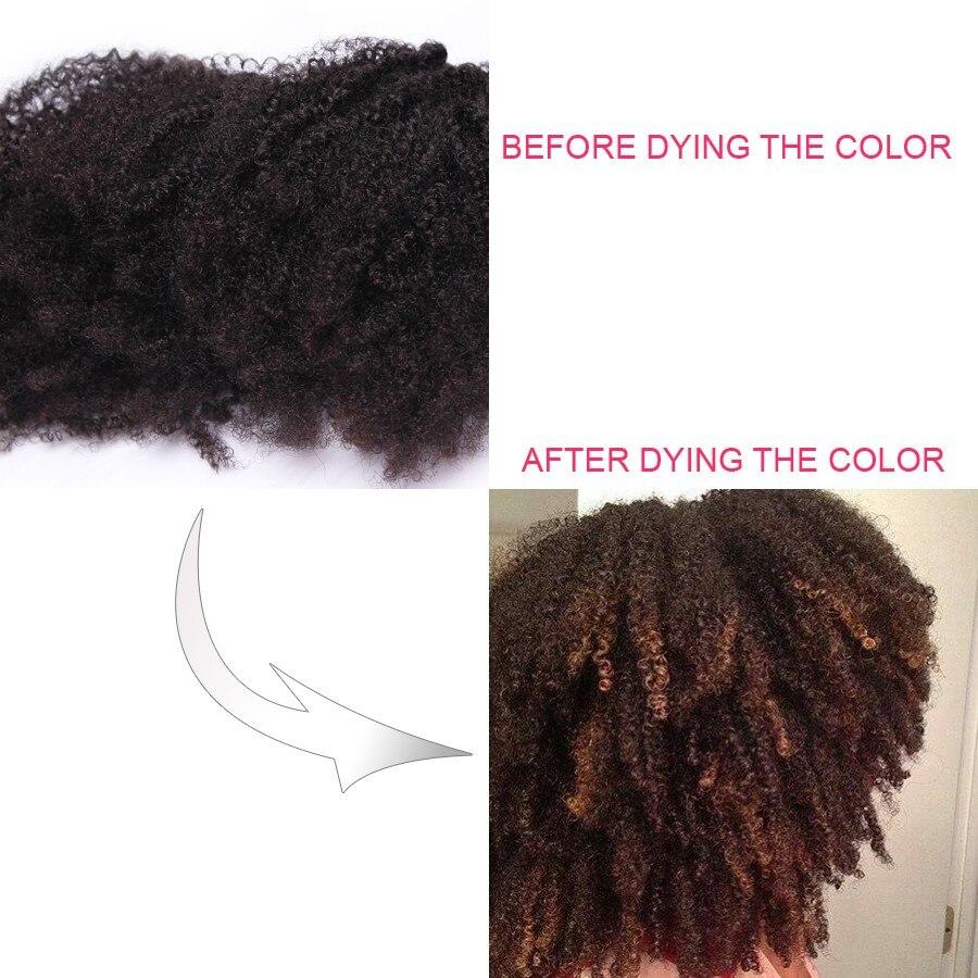 4B 4C Afro Kinky Curly Clip i Mänskliga Hårförlängningar - Mänskligt hår (svart) - Foto 5