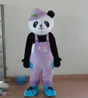 Милый черный гигантский медведь панда BEARCAT Маскоты костюм с маленькими ушами яркий большой Средства ухода для век фиолетовая одежда