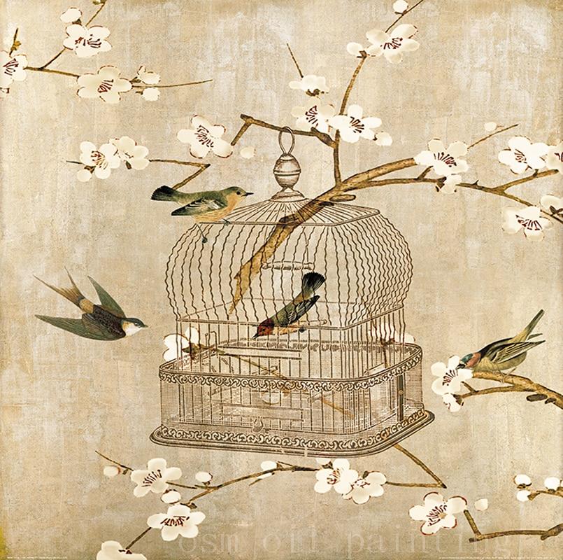 6be36906d المطبوعة حيوان اليف طيور في قفص العصافير قماش الطباعة جدار عمل فني رذاذ  لوحات الطيور زهرة Landcape النفط الطباعة ل ديكور المنزل