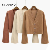 SEDUTMO Winter Oversize Sweater Women Cardigan Short Knitting Sweater Autumn Long Sleeve Casual Warm Top ED493
