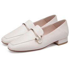 2019 AME Black Beige Women Loafers PU Leather Shoes Top Quality Square Toe Low Heel Lady Woman Casual 11811ABX2061
