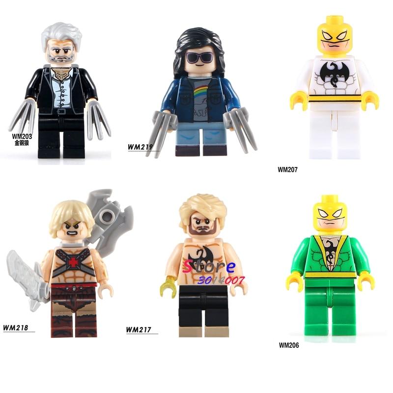 Single super hero Wolverine Movie Logan X-man X-23 Laura Kinney Iron Fist he-Man building blocks models toys for children kits single sale zodak rattlor he man masters ram man paker ske letor sorceress tri klops building blocks children gift toys pg8089