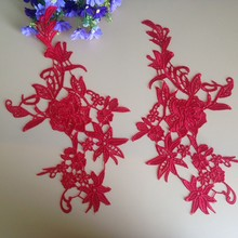 10Pcs Red Flower Lace Applique Scrapbooking Embroidered Bridal Dress Wedding Decorative Sewing Trim Craft