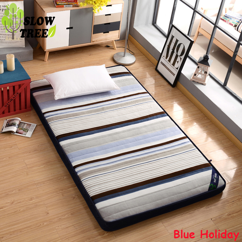 Slow Tree Flannel Mattress Thicken10cm Foldable Queen Bed Mat Home Tatami Bedroom Furniture Single/Double Mattress Floor Mat(China)
