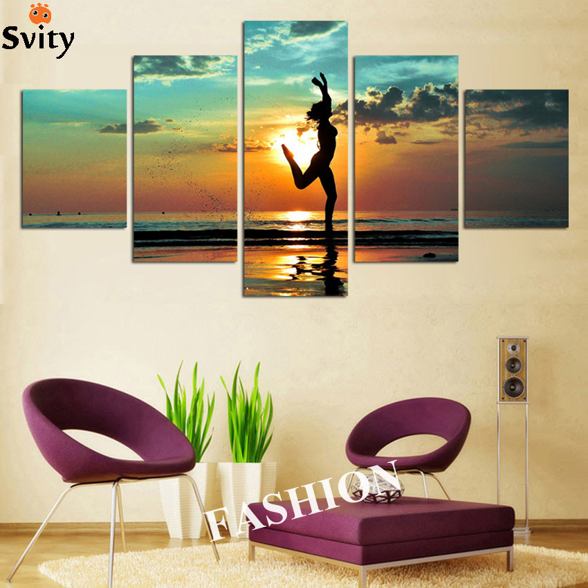 Free shipping 5 Piece Canvas Modern Prints Beach Seascape Painting Beautiful dance Sunset Wall Picture For Bed Room No Frame