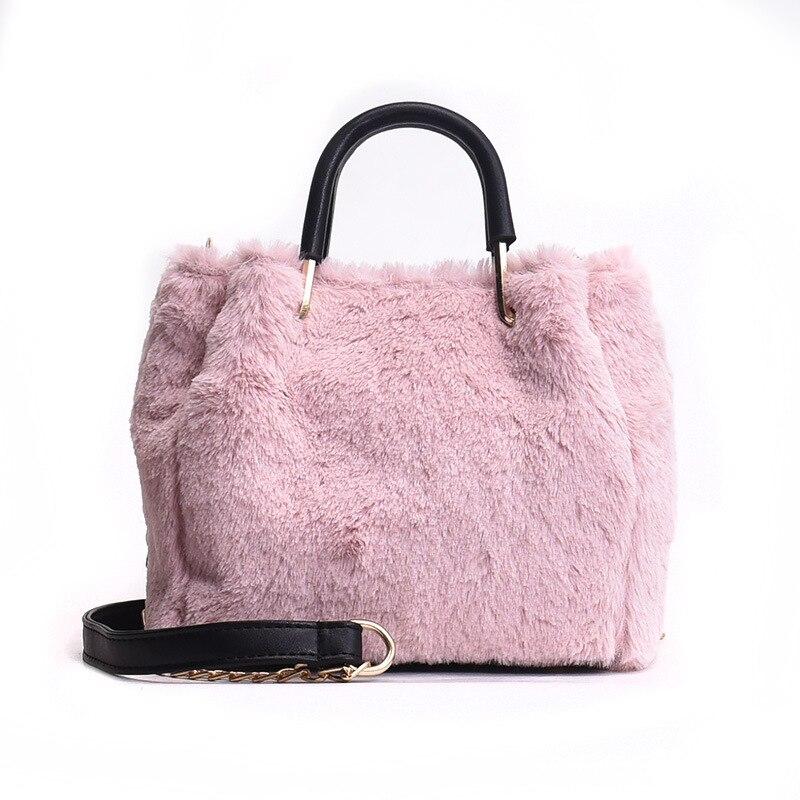 Small Bags For Women 2018 Winter Handbags Female Faux Fur Shoulder Crossbody Bag Sac A Main Femme Ladies Tote Messenger Bag New faux fur duffle shoulder bag