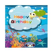Laeacco Happy Birthday Baby Children Cartoon Underwater Animals Scene Photographic Backgrounds Photography Photo Backdrop Studio