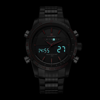 New Luxury Brand Dual Time Clock Full Stainless Steel Men's Waterproof Watch 4