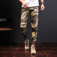 2017 New Mens Cargo Pants Big Pockets Decoration Casual Trousers Male Autumn Army Camouflage Pants For