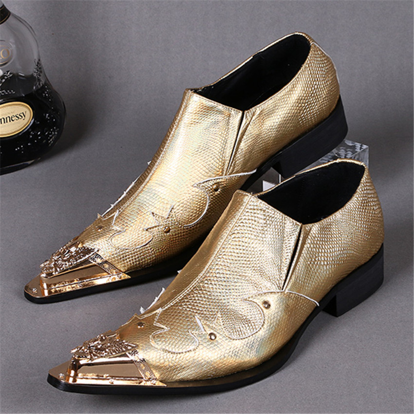 Gold Metal Pointed Toe Men Wedding Dress Shoes Oxfords Genuine Leather Prom Business Shoe Creepers Mens Oxford Shoe