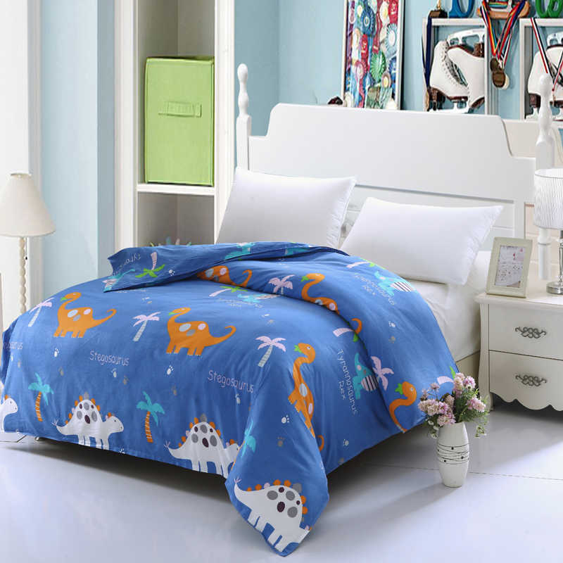 100% Cotton Bedding Cartoon Animal yellow blue white Dinosaur bear plant printed Flaming Duvet Cover Children bedroom queen King