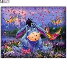 DIY 5D pintura de diamante Cruz burro pájaros de colores diamante mosaico cuentas cuadradas decoración con diamantes bordados Rhinestones dibujos animados