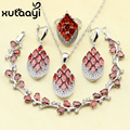 Brilhando Criado Red Rhodolite Garnet 925 Sterling Silver Quatro Peças Conjunto de Jóias Mulheres Áustria Cristal Pulseira Anel Brinco