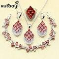 De Color Rojo brillante Creado Rhodolite Granate Plata de Ley 925 de Cuatro Piezas Conjunto Joyería de Las Mujeres Austria Crystal Anillo Pendiente de La Pulsera