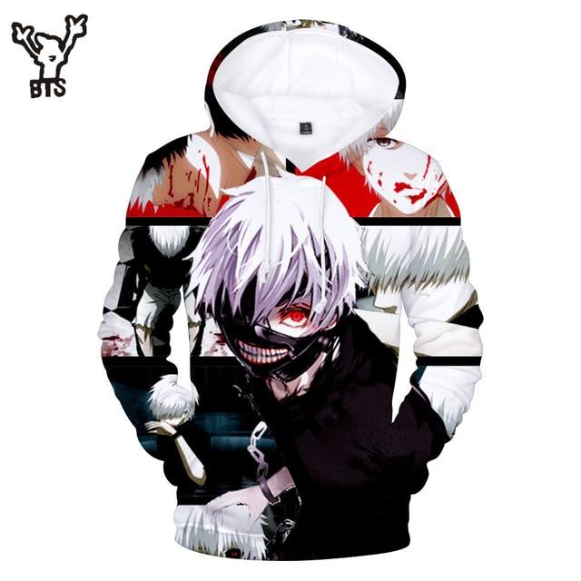 18c2b732108 BTS 3D Tokyo Ghoul Men Cool Popular Hot Sale Anime Hooides Sweatshirts  Print Lovely Autumn Winter Women Hoodies Print Plus Size