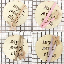 Nordic Wooden Girls Hair Accessories Storage Hanging Kids Hair Clips+Ribbon Bow Band Round Letter Hollowed Storage