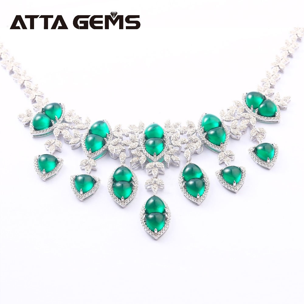 Cabochon Emerald Sterling Silver Pendants For Women Luxury Style 40 Carats Created Emerald Sterling Silver Wedding Jewelrys