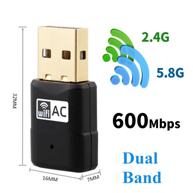 Wireless Wifi Adapter USB 600Mbps AC600 2.4GHz 5GHz 802.11b/n/g/ac WiFi Antenna PC Mini Computer Network Card Receiver Dual Band