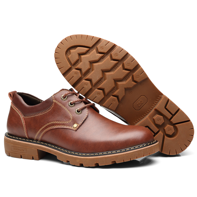 Image 4 - Vancat High Quality Men Casual Sheos 2018 New Genuine Leather Flat Shoes Men Oxford Fashion Lace Up Men's shoes Work Shoe-in Oxfords from Shoes