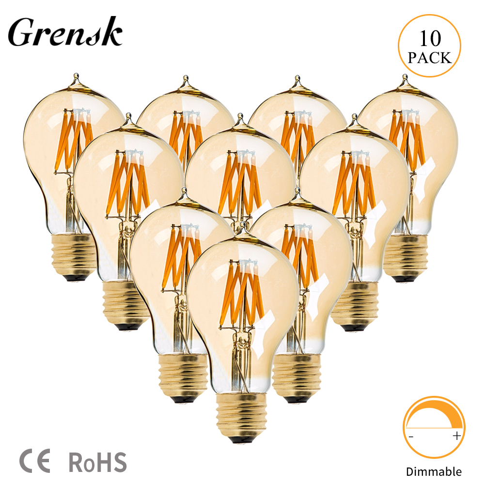 Grensk Led Bulb E27 A60 8W Dimmable Vintage Edison Filament Lights Bulb LED Lamp E27 220V Yellow 2200K Home Decorative Lighting|LED Bulbs & Tubes| |  - title=
