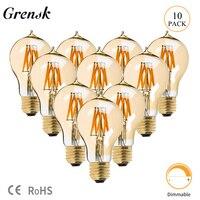 Grensk Vintage Edison Light Bulbs Retro Fashioned Style Screw Bulb Dimmable Decorative Filament Lamp E27 220V A19 8W 2200K Light