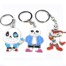 RJ 2018 Game Undertale Sans Papyrus Cute Figure Logo Keychains High Quality Panda Skull Pendants Men Boy Kids Toys Bag Keyring