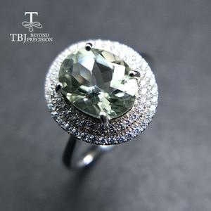 Image 3 - Женское кольцо с аметистом TBJ, Ювелирное Украшение с драгоценным камнем зеленого цвета, в оправе из серебра 100% пробы, для дня рождения