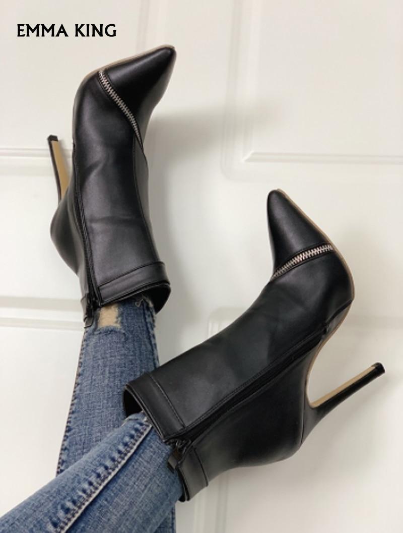2019 Courtes Bottines Nouveau Hauts Black Pu Boucle Détail Dames Femmes Sexy Zip Aiguilles Mujer Talons Femme Botas Mode À n66xqr