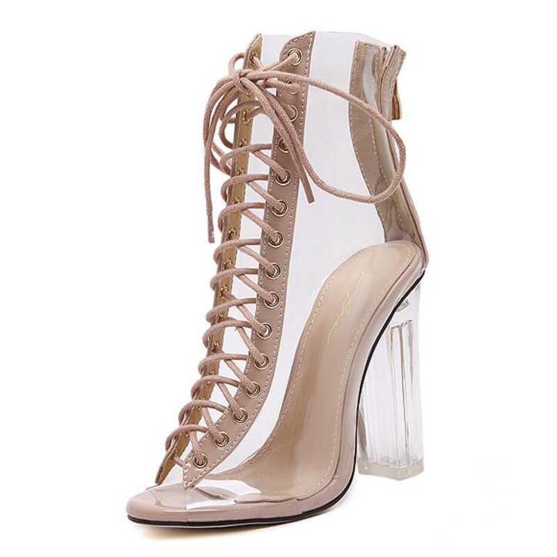 Women Gladiator Sandals PVC Clear Block High Heel Transparent Boots Lace Up High Top Bootie Pumps